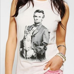 Urban Outfitters Abe Lincoln & Kitty Muscle Tee